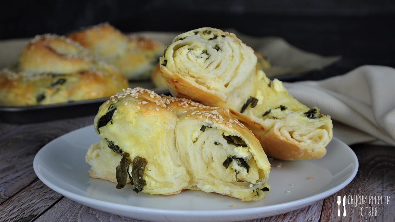Точени вити банички със сирене и спанак