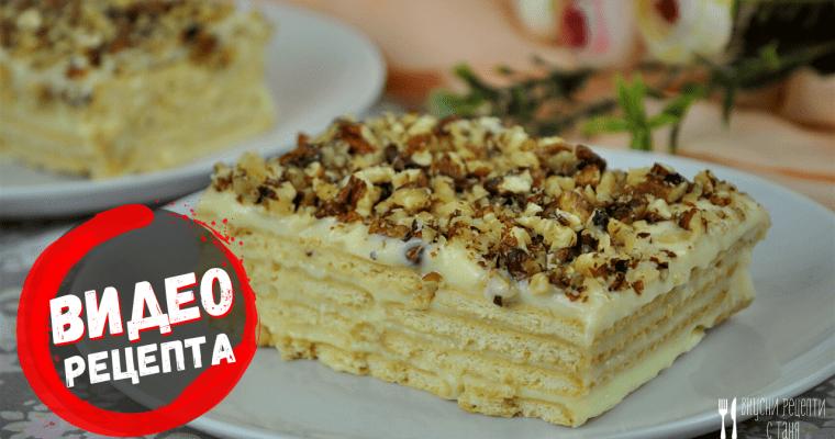 Домашна бисквитена торта – видео рецепта